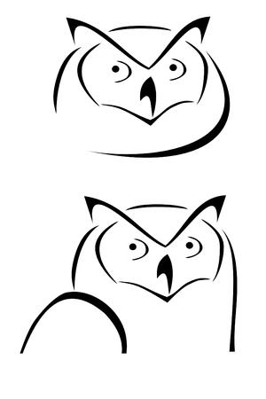 Two owl head tribal tattoos 向量圖像