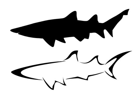 Set of two tribal shark tattoos Illusztráció