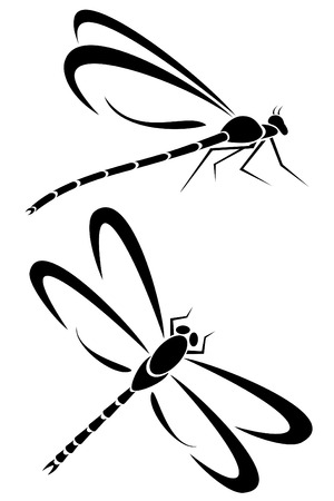 Two dragonfly tribal tattoos Vector