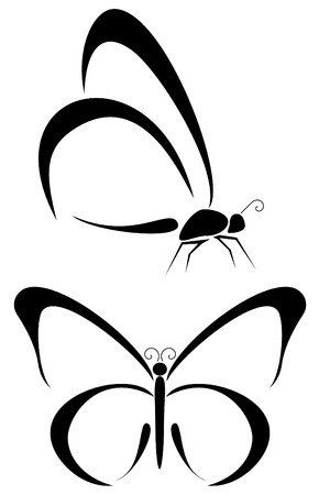 butterfly wings: Set of two tribal butterfly tattoos Illustration