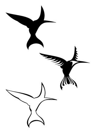 A set of three tribal hummingbird tattoos Illustration