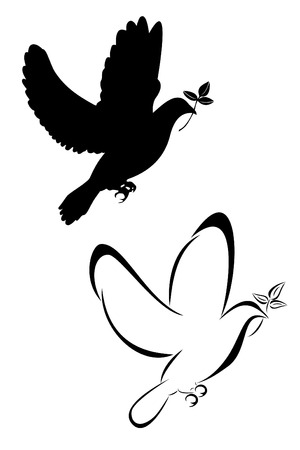 dove with olive branch: Set of two tribal dove tattoos