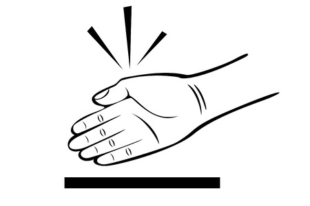 A black and white hand karate chop