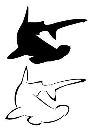 hammerhead: Un tatuaggio tribale squalo martello impostare Vettoriali