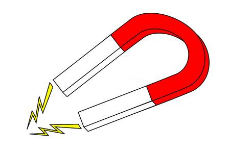 빨간색과 흰색 말발굽 자석 일러스트