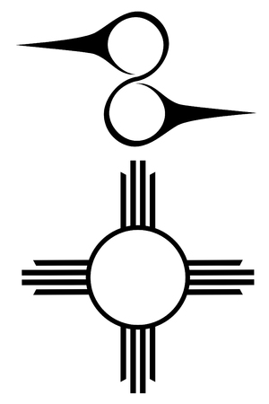 Set of two Native american symbols 向量圖像