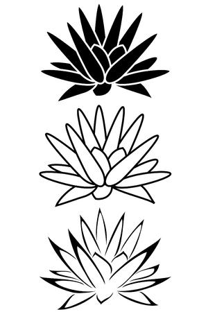 Een lotusbloem tribal tattoo set Stock Illustratie