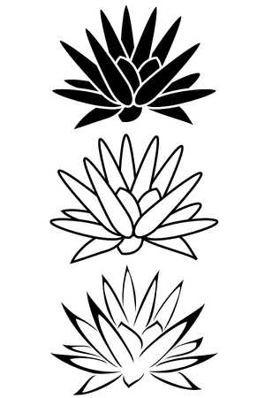 A lotus flower tribal tattoo set
