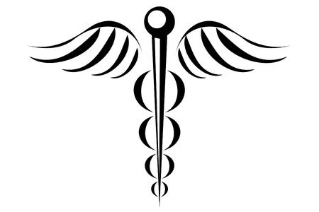 Caduceus medical symbol tribal tattoo Illusztráció