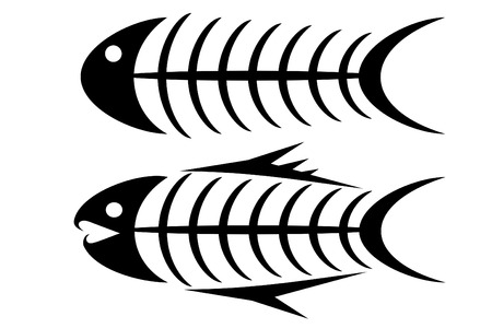 fishes: Set of two tribal fish bone tattoos Illustration