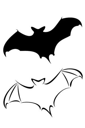 Een zwarte vleermuis tribal tattoo set