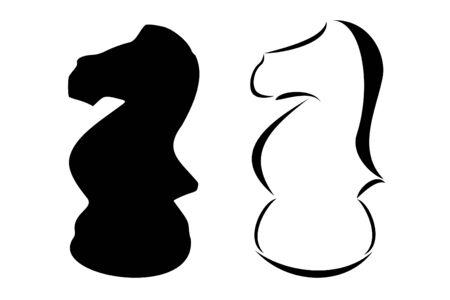 chess knight: Un caballo de ajedrez tribales tatuaje conjunto