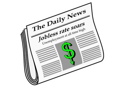 newspaper headline: Newspaper with unemployment headlines Illustration