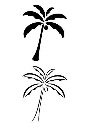 A black tribal palm tree tattoo Ilustrace