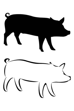 A tribal pig tattoo