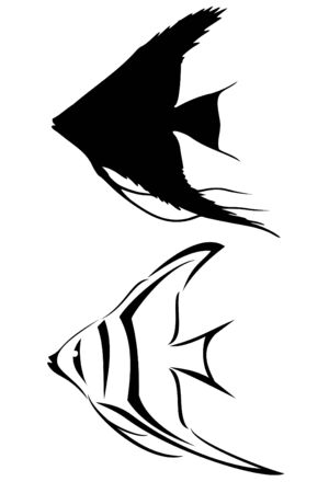 underwater fishes: A black tribal angelfish tattoo Illustration