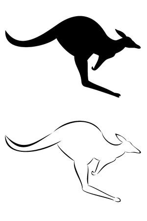 Een stam kangaroo tattoo set