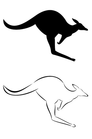 australian outback: Un canguro tribal tattoo conjunto Vectores