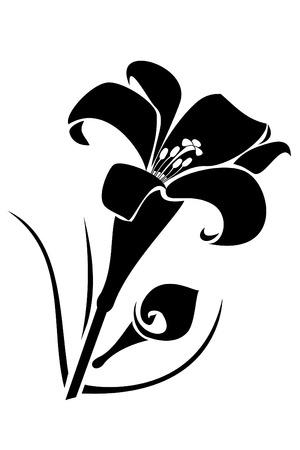 muguet fond blanc: Un noir lilly fleur tatouage tribal
