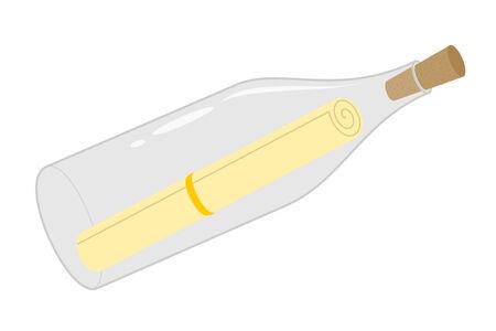 Een geïsoleerde boodschap in een fles Stock Illustratie