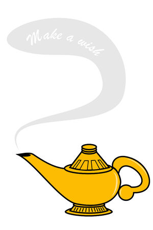 three wishes: Make a wish genie lamp
