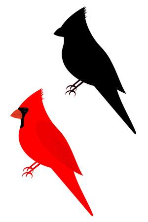 Conjunto de dois pássaros cardeais Ilustración de vector