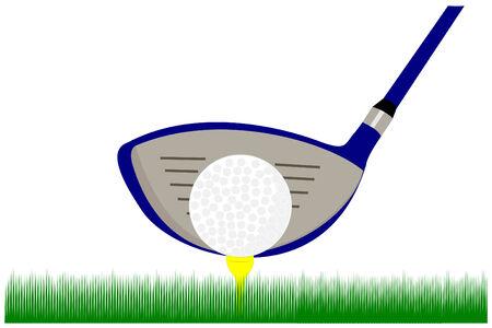 Golfclub en bal op een tee