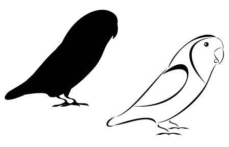 Een lovebirds set stam en silhouet