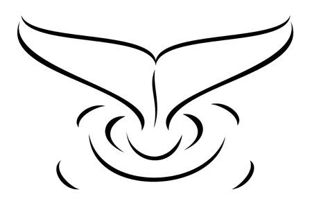 ballena: Un tatuaje tribal de cola de ballena Vectores