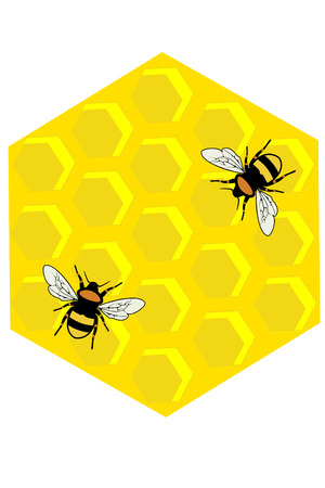 A yellow honeycomb with bees