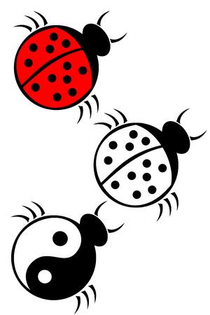 A Tribal ladybug tattoo set 向量圖像