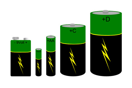 A set of green and black batteries Ilustração