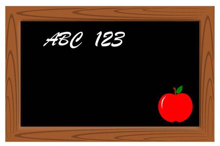 木製フレームと黒黒板  イラスト・ベクター素材