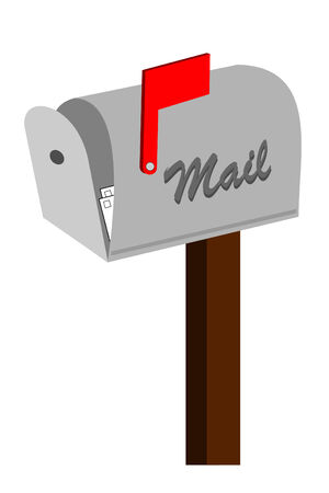 A open mailbox with red flag