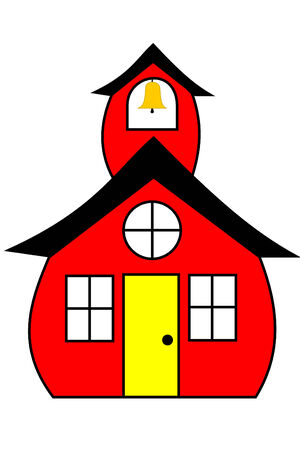 school class: A red schoolhouse with a bell Illustration