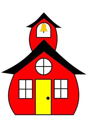 Een rode schoolgebouw met een bel