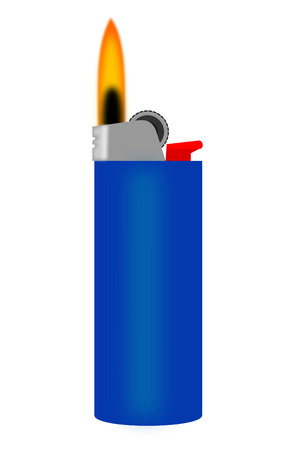 cigarette lighter: Un encendedor de color azul con una llama Vectores