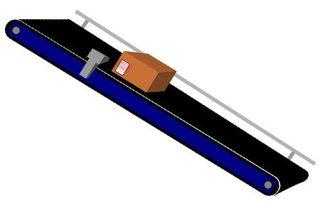 fliesband: Ein Karton auf einem F�rderband
