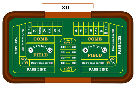 bet: A craps table with odds bets Illustration