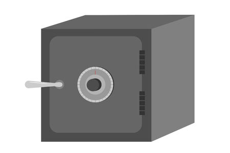 A grey safe with dial and handle Ilustração