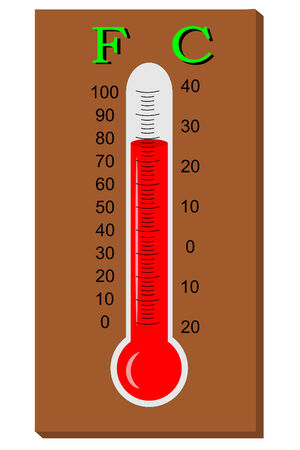 celsius: A Thermometer with celsius and fahenheit Illustration
