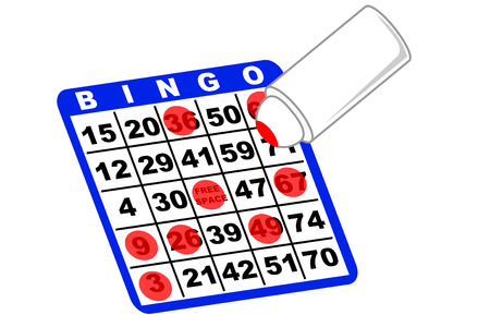 A bingo card and ink marker Stock Illustratie