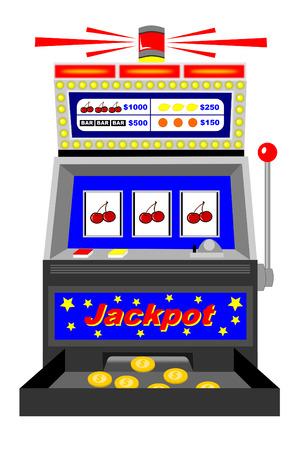slot machine: A winning slot machine with triple cherries