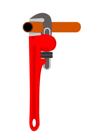 A pipe wrench with a pipe