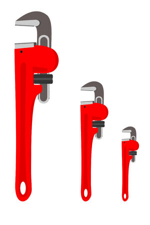 Set of three pipe wrenches  イラスト・ベクター素材