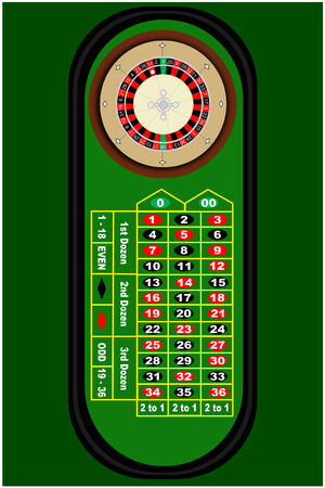 the roulette: Una mesa de ruleta Vectores