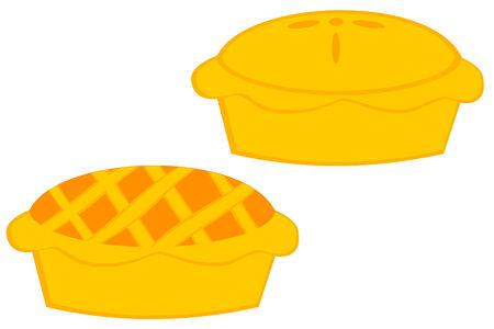 pastel de manzana: Un conjunto de dos diferentes estilos de pastel de manzana Vectores