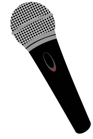 A isolated black microphone Ilustrace