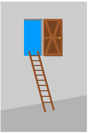 A ladder leading up to a open door Illustration