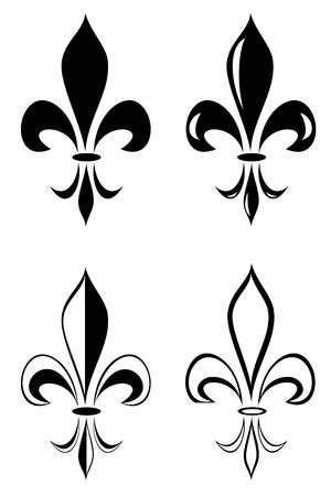 A Fleur de lis tribal tattoo set Ilustracja